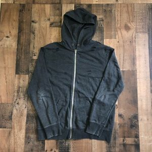 Mossimo Distressed Charcoal Full Zip Hoodie